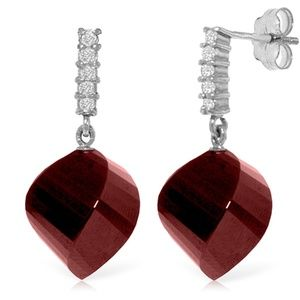 EARRINGS WITH DIAMONDS & BRIOLETTE TWISTED RUBIES